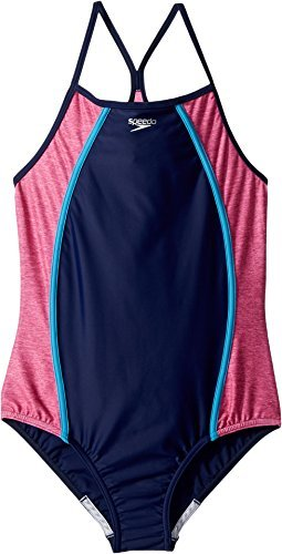 Speedo Girls Heather Thin Strap, Blue Harmony, Size - Speedo Practice Suits