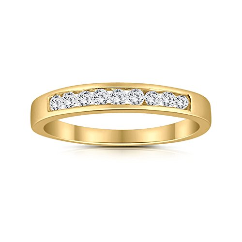 1/4ctw Diamond Channel Wedding Band in 10k Yellow Gold by Sk Jewel,Inc