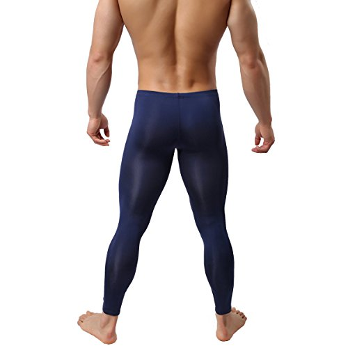 Men's Sexy Underwear Bottoms Low Rise Leggings Pants Mesh Long Trousers (L, Navy)