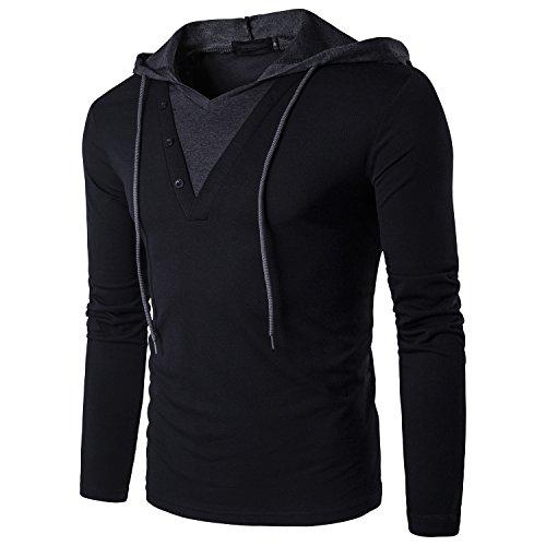 QPNGRP Men's Casual Long Sleeve Slim-Fit Hoodie Shirt