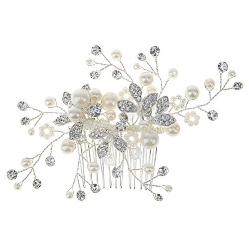 HDE Wedding Bridal Hair Accessory Silver Pave Bendable Wire Crystal Pearl Headpiece For Brides (Crystal Motif Brooch)