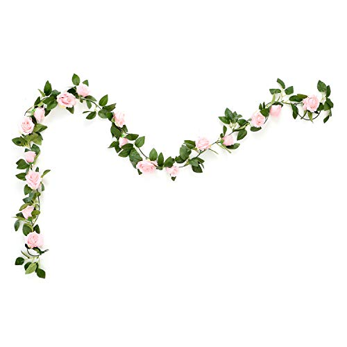Aurdo Artificial Rose Vine Flowers with Green Leaves 7.5ft Fake Silk Rose Hanging Vine Flowers Garland Ivy Plants for Home Wedding Party Garden Wall Decoration (Pink) ...