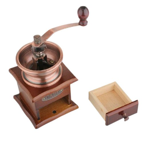 MiniInTheBox Manual Coffee Grinder Adjustable BM-07 Vintage Style Hand Coffee Mill Burr Coffee Grinder with Wood Hand Crank Drawer