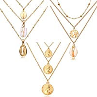 17KM 3pcs Natural Shell Pendant Necklace for Women Summer Boho World Map Coin Layered Necklace Jewelry Girls Ladies Gift