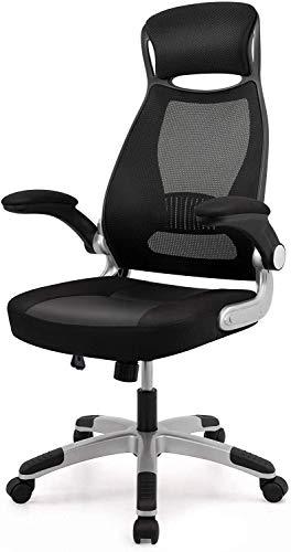 FANPING Silla de ordenador ergonomico de oficina, respaldo alto giratorio silla del acoplamiento, silla de escritorio plegable acolchado con los brazos y de soporte de la cabeza
