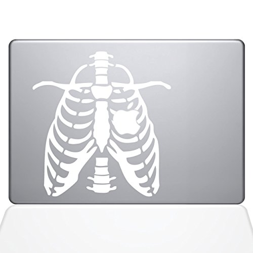 Ribcage Apple Heart Vinyl Decal Sticker Skin for Apple Retina Macbook 12 inch Unibody Laptop in White