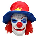 Honfill Halloween Latex Mask, Red Lint Hat & Creepy Mouth, Scary Halloween Costume