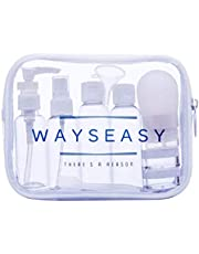 Travel Bottles WAYSEASY Leak-proof Refillable Toiletry Bottle and Containers with Clear TSA Toiletry Bag Durable