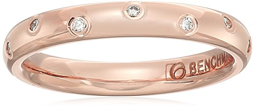 14k Rose Gold 3mm Offset Diamond Band Stackable Ring, Size 7