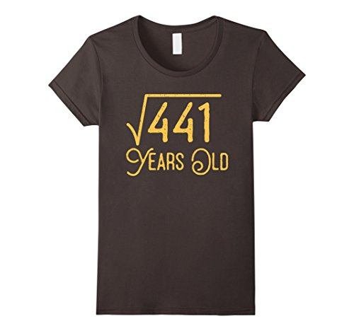 Womens 21st Birthday Gift 21 Years Old Square Root of 441 T-Shirt Small Asphalt