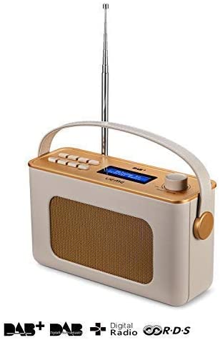UEME Retro Digitalradio mit Bluetooth, DAB+ DAB UKW Radio, Radiowecker, und Leder Verkleiden (Crème)