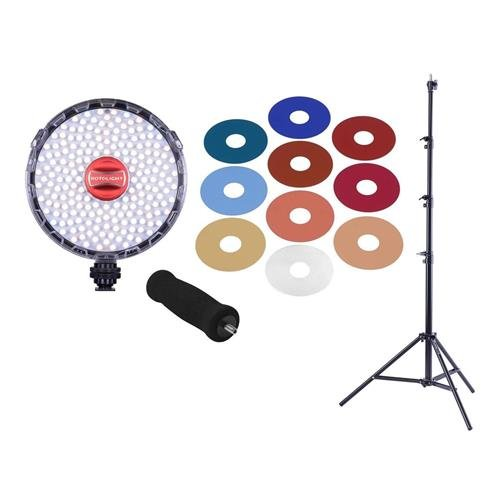 ROTOLIGHT Neo 2 On-Camera LED Light Bundle, Includes Foam Hand Grip and Set of Colored Filters - With Pro Air Cushioned Heavy Duty Light Stand - 9.5'
