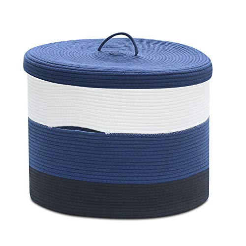 Extra Large Blue Cotton Rope Woven Basket for Laundry,Toys,Blankets,Pillows with Lid Price: $35.99