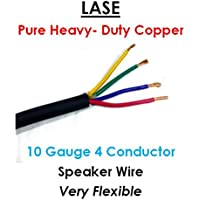 LASE 10 AWG Gauge 4 Conductor Heavy Duty Speaker Wire (Sold in 10 Ft Increments)