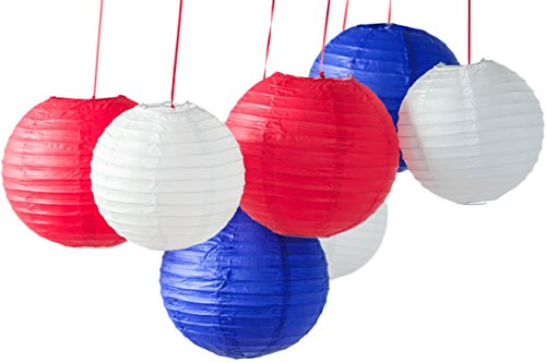 Bobee Red White And Blue Paper Lanterns, Party Decorations, 7 Pack