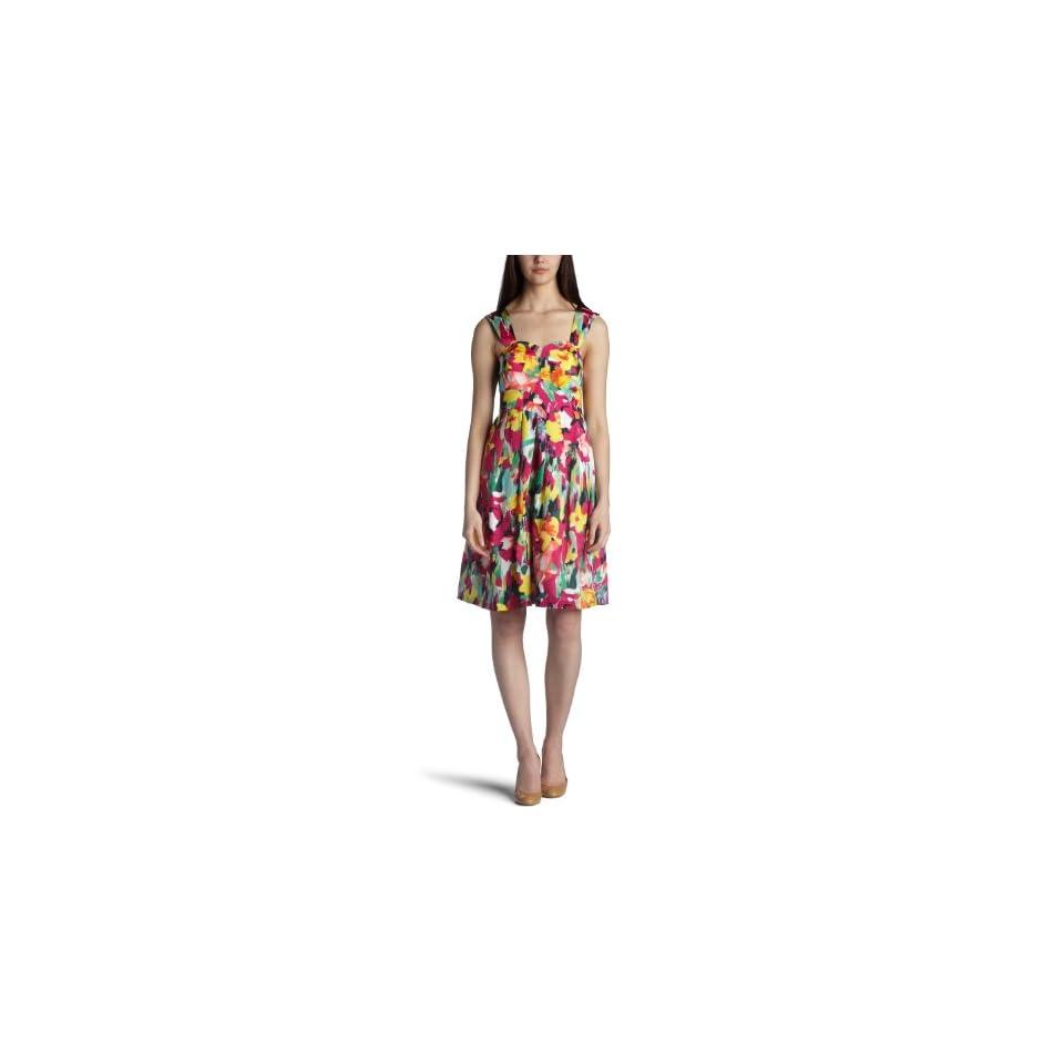 Suzi Chin Womens Floral Print Silk Dress
