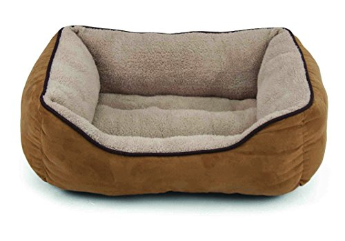 Dallas Manufacturing Co. Products Faux Suede Box Pet Bed, 25-Inch, Tan