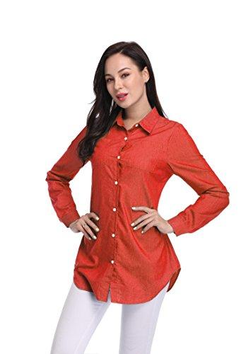 Cotton Point Collar Blouse (Argstar Women's Cowboy Point Collar Long Jeans Button Down Blouse Shirt Red XL)