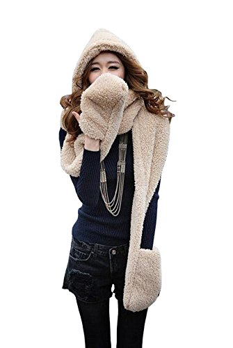 Tonwhar Womens Cute Winter Thick Warm Long Hooded Scarf with Mittens (Beige)