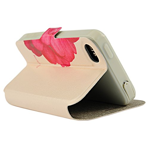 MAXFE.CO halbes Blütenblatt Blumenmuster Dekoration PU Ledertasche / Schutzhülle / Cover / Leder Skin / Flip Case Handy Tasche für iPhone 4/4S- Design aus PU Leder