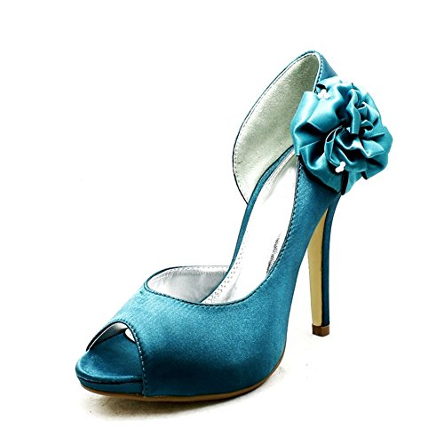De satén para dama rosetón lateral alto tacón boda zapatos de dama de honor - Verde Azulado, 3 UK