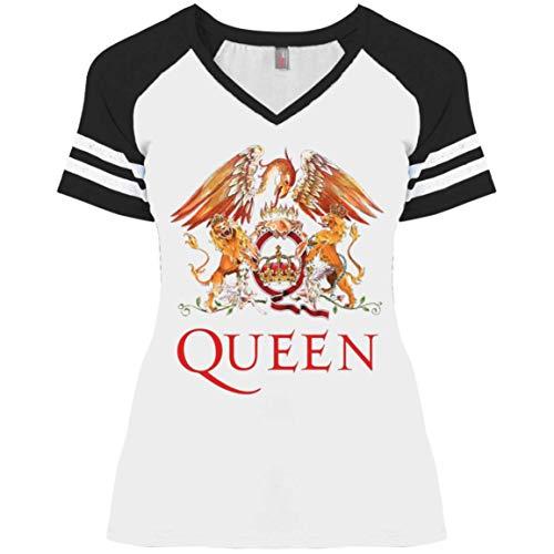 Queen Women's Ladies' Game V-Neck T-Shirt White/Black ()