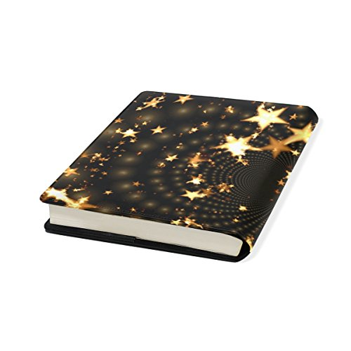 Golden Star Stretchable Leather Book Covers Standard Size for Student Hardcover Textbooks Fits up to 9x11-Inch for School Girls Boys Gift