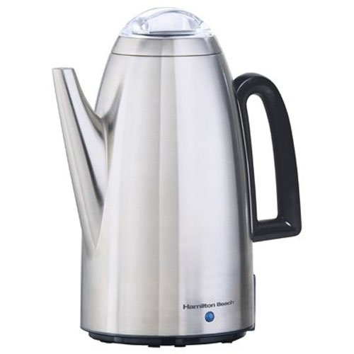 Electric Percolator Coffee Pot - Hamilton Beach Brands 40614 Coffee Percolator, Stainless Steel, 12-Cup,Pack of 1