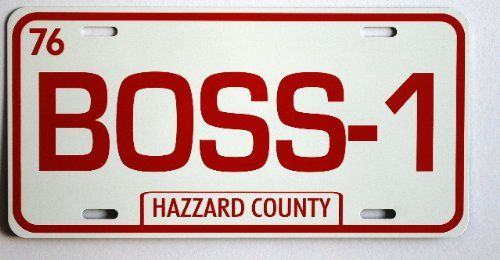 DUKES OF HAZZARD BOSS-1 BOSS HOGG Metal LICENSE PLATE CADILLAC Fan REDNECK Southern Rebel South Moonshine Nascar TAG 6 X 12 HOT Rod Muscle CAR Classic Museum Collection Novelty Gift Sign]()