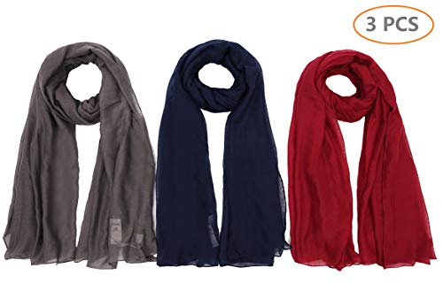 (Light weight Plain Solid Rectangular Scarf For Women Oblong 72x39.5 Inches 3PCS for Set Grey+Navy+Maroon)