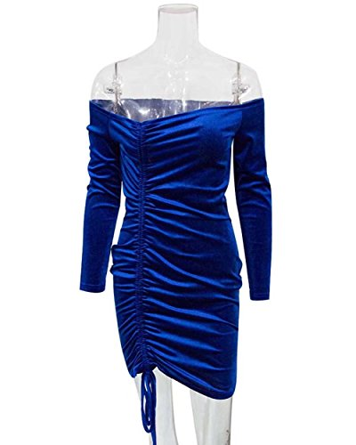 Sleeve Royal Velvet Women's Ruched Off Dress Shoulder Sexy Adogirl Mini Long Blue Bodycon AR0wqZwP