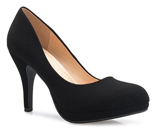 Women's toe Black Round Heels K Platform Olivia High Stiletto Dress Pumps Classic Nubuck OwP5qTTI
