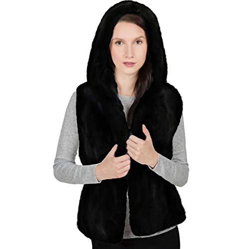 OBURLA Women's Genuine Rex Rabbit Hooded Fur Vest - Warm Real Fur Sleeveless Jacket with Hood (Black, Small)