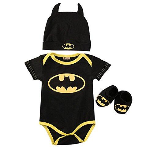 TWUSA TallyWear USA BAT1 Batman Newborn Baby Boys Infant Rompers+Shoes+Hat 3Pcs Outfit Baby Boys Clothes Set Short Sleeve (Batman Newborn Outfit)