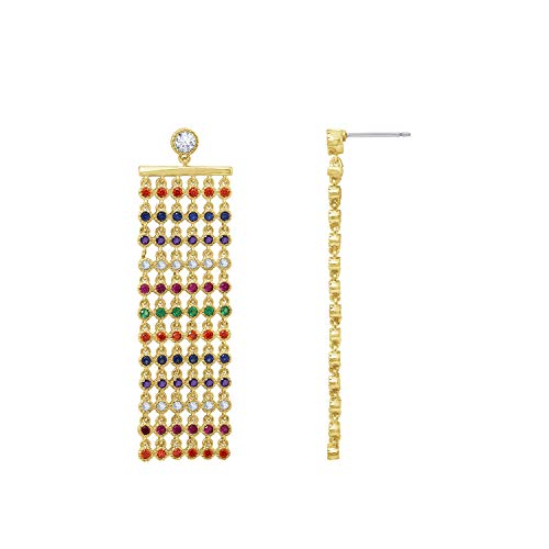 (6TH AVE Shades of Rainbow Collection - Yellow Gold Plated Multi Layer Cascade Earrings)