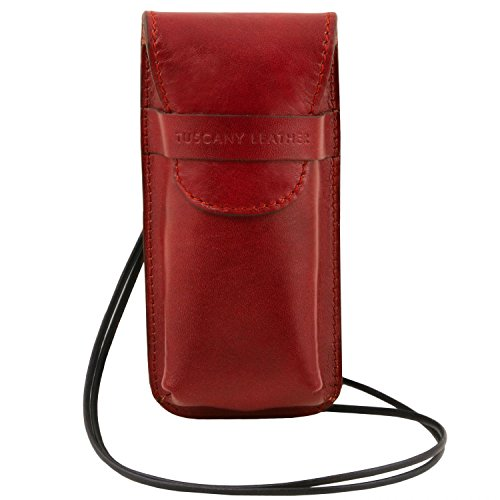 Tuscany Leather Esclusivo portaocchiali/Smartphone a tracolla in pelle Misura grande Miele Rosso