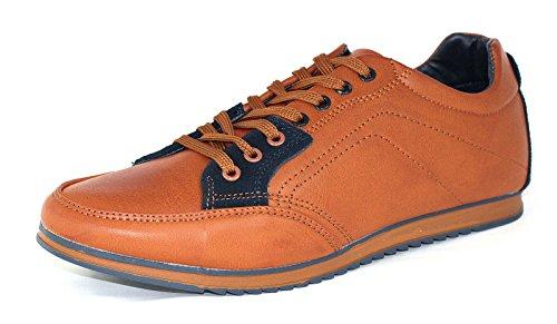 Hombre De Lona Casual Zapatillas Con Cordones Correr Caminar zapatillas RU 6 7 8 9 10 11 Marrón/Azul marino