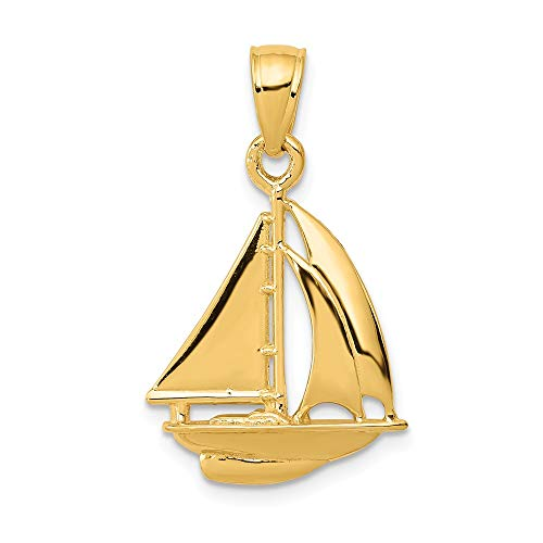 14k Yellow Gold Sailboat Pendant Charm Necklace Sea Shore Boating Man Fine Jewelry Gift For Dad Mens For Him