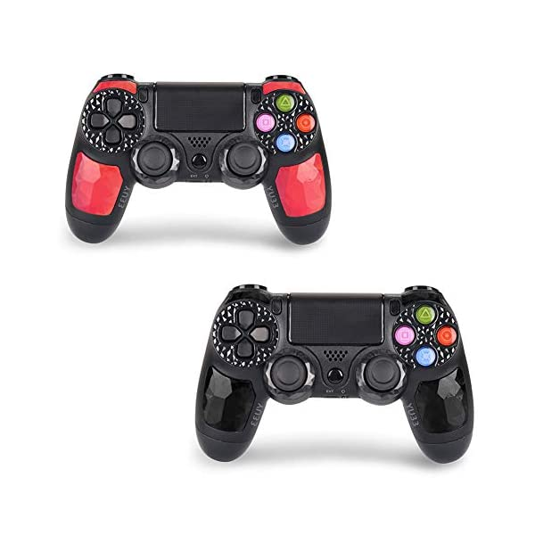 2 Pack Wireless Controllers for PS4 and for Playstation 4 Control - YU33 for DS4 Remote Joystick Support Playstation 4,Pro/Slim PS4,PC,PS TVs,Smart TV(Black+Red Diamond 1
