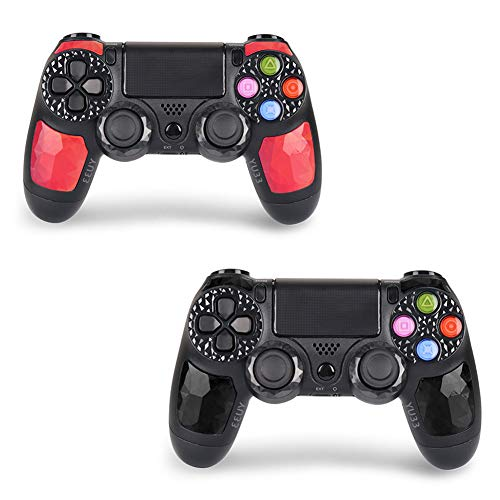 (2 Pack PS4 Controller for Playstation 4 - YU33 Dualshock 4 Wireless Remote,DS4 Joystick( Black+ Red Daimond)