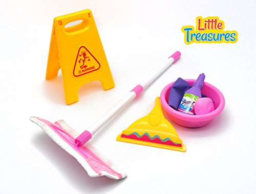 (Little Treasures Little Helper 7 Piece Pretend and Play Cleaning Play Set with Floor mop, Squeegee, soap, Detergent, Basin, Towel and Wet Floor Warning Sign)