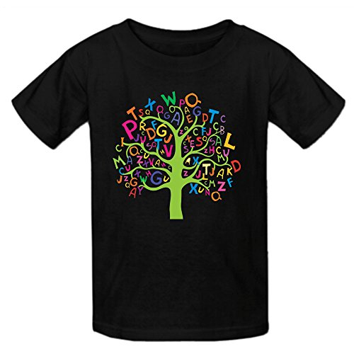 (Heeloo Boy's Girl's Alphabet Tree Personalized T Shirt Black)