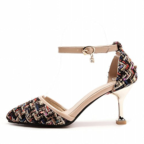Mee Shoes Women's Chic Ankle Strap Buckle Court Shoes Black n3cOqFdg
