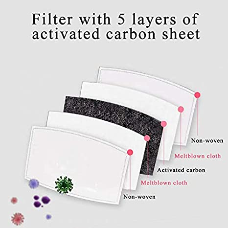 Printed Neck Gaiter with Carbon Filter UV Protection Face Cover for Hot Summer Cycling Hiking Sport Outdoor