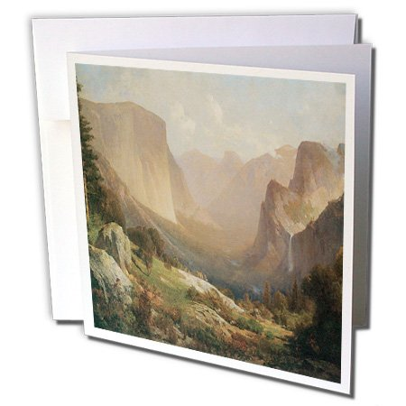 Price comparison product image 3dRose Greeting Cards, 6 x 6 Inches, Pack of 6, View of Yosemite Valley By Thomas Hill (gc_126704_1)