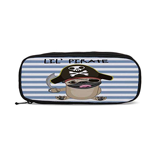 Buccaneers Freezer - Pirate,Buccaneer Dog in Cartoon Style Costume Holding Sword Lil Pirate Striped Backdrop,9.4