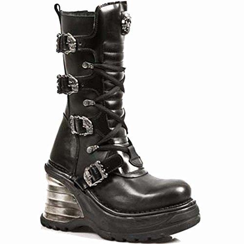 Ready Plataform Stock Plataform 40 8374 Metallic Black Women Metallic Size Rock Leather M S1 New APFZq