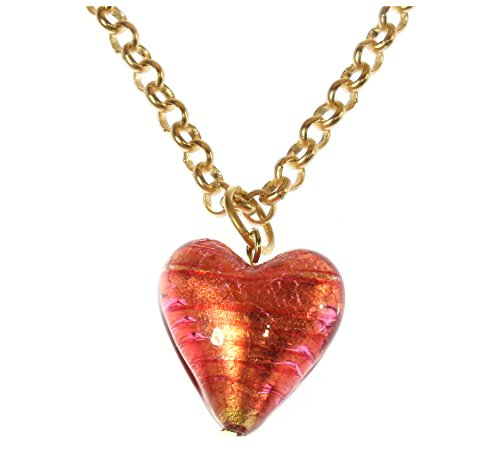 (ARThouse Bursting with Love Murano Glass Pink Heart Necklace, 20 Inch Adjustable Goldtone Chain)