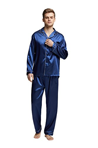 Tony & Candice Men's Classic Satin Pajama Set Sleepwear (X-Large, Blue With White Piping)