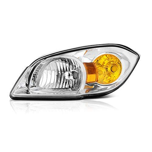 VIPMOTOZ Chrome Bezel OE-Style Headlight Headlamp Assembly For 2005-2010 Chevy Cobalt & Pontiac G5, Driver Side